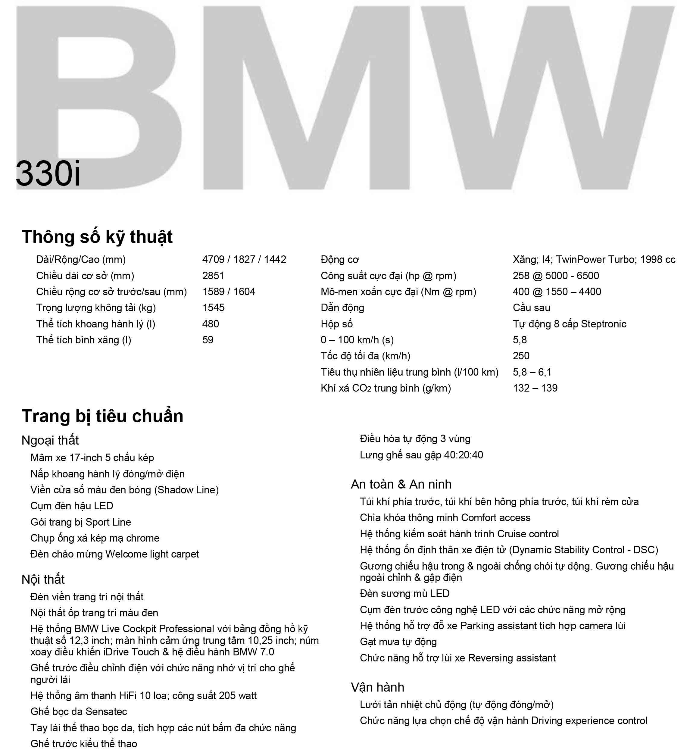 Thông số kỹ thuật bmw 330i 2020
